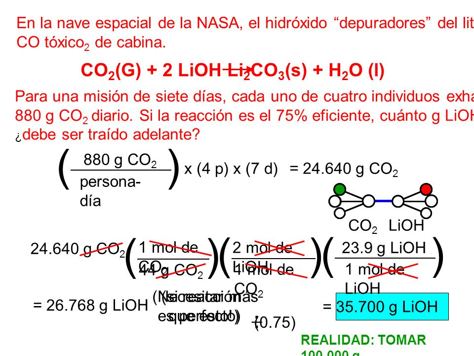 CO2(G) + 2 LiOH Li2CO3(s) + H2O (l)
