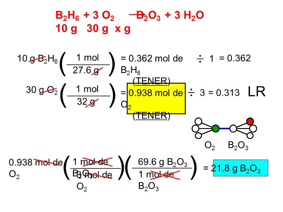 ( ) ( ) ( ) ( ) LR B2H6 + 3 O2 B2O3 + 3 H2O 10 g 30 g x g _ . _ .