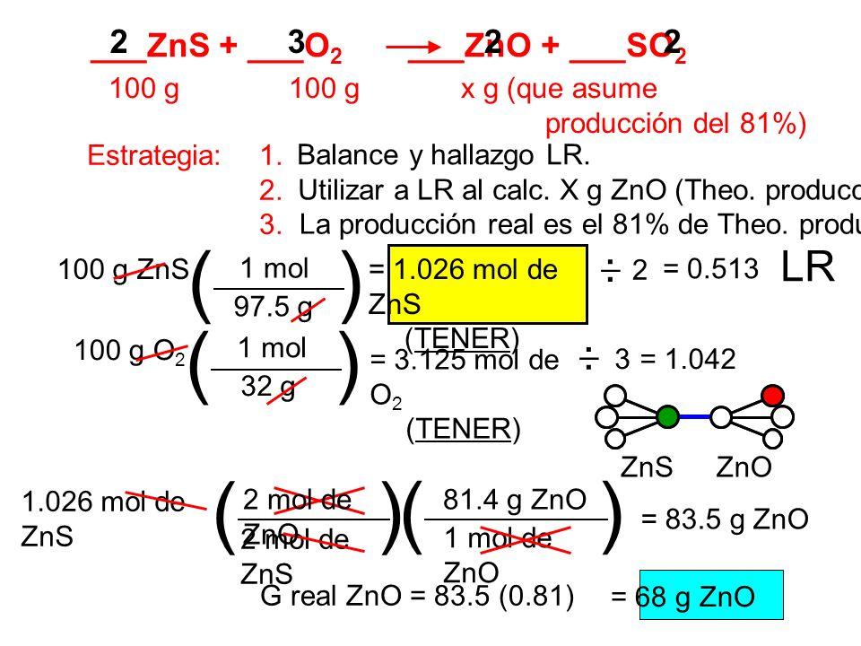 ( ) ( ) ( ) ( ) LR ___ZnS + ___O2 ___ZnO + ___SO2 2 3 2 2 . _ . _