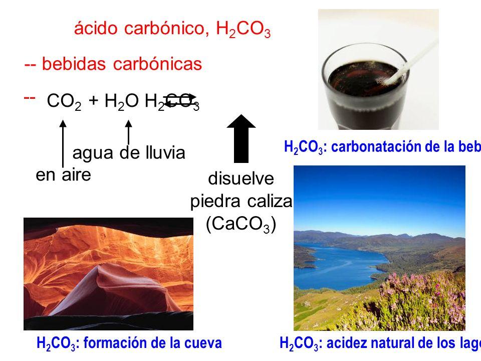 ácido carbónico, H2CO3 -- bebidas carbónicas -- CO2 + H2O H2CO3