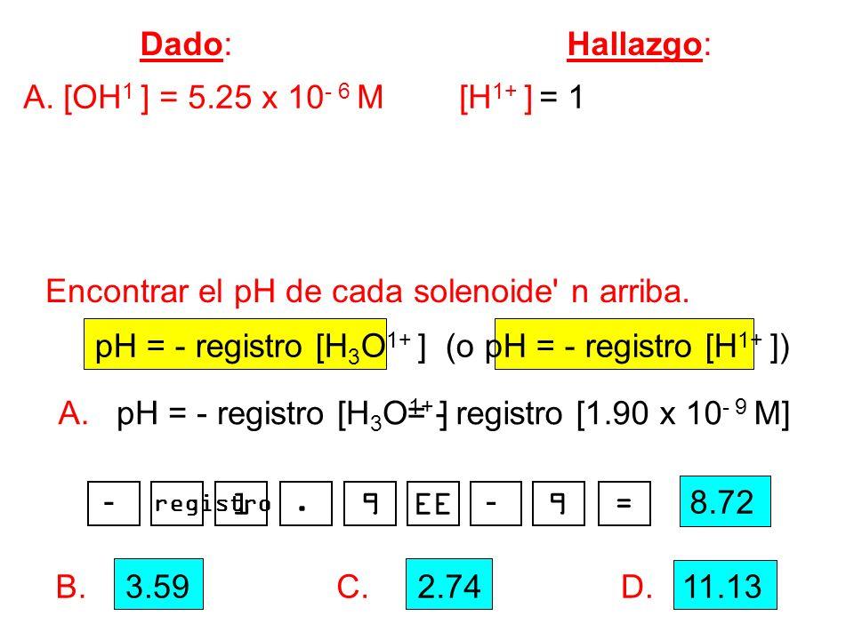 Encontrar el pH de cada solenoide n arriba.