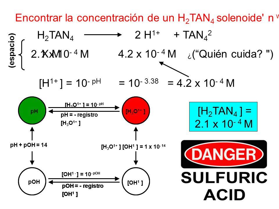 Encontrar la concentración de un H2TAN4 solenoide n w/pH 3.38.