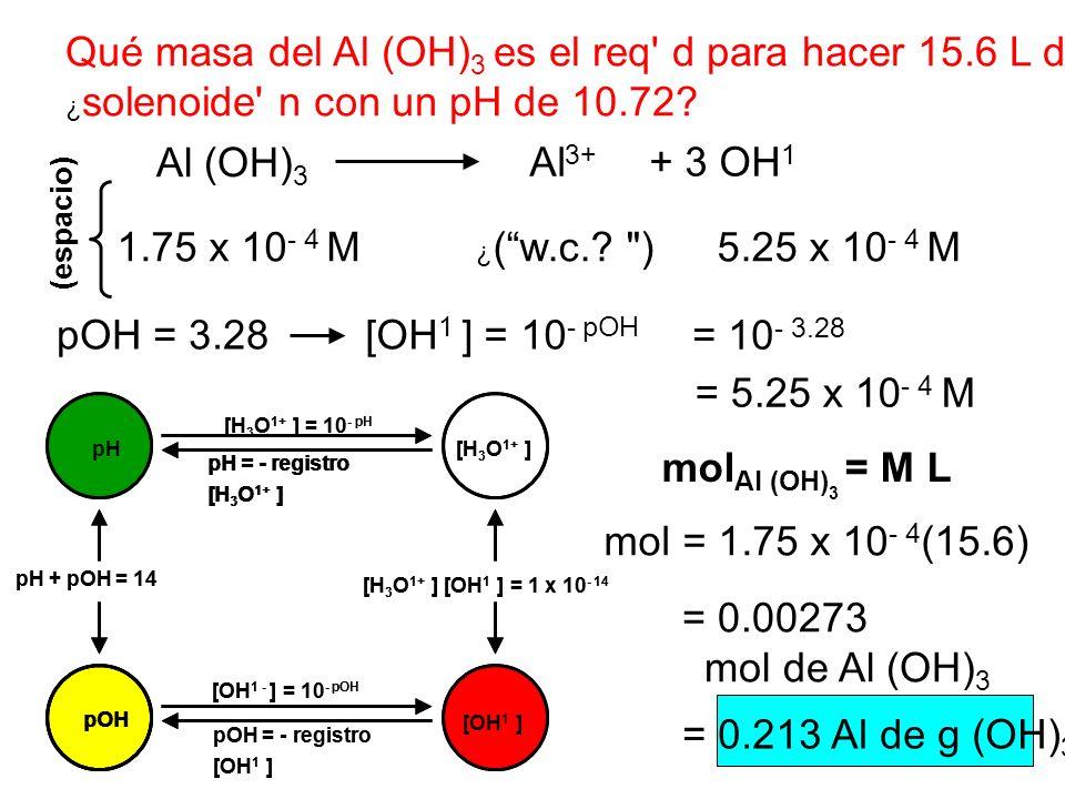 Qué masa del Al (OH)3 es el req d para hacer 15.6 L de a