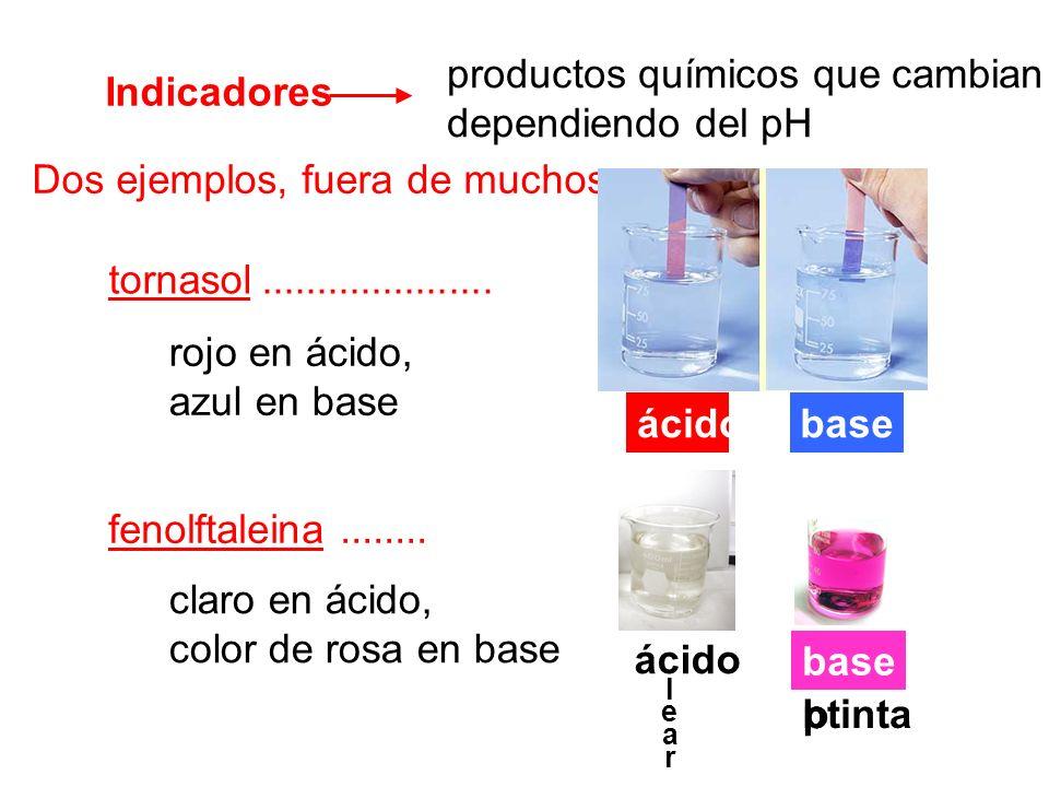 productos químicos que cambian color, dependiendo del pH Indicadores