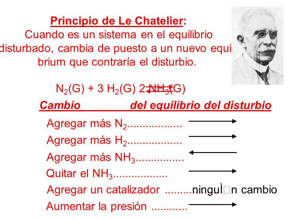 Principio de Le Chatelier: Cuando es un sistema en el equilibrio