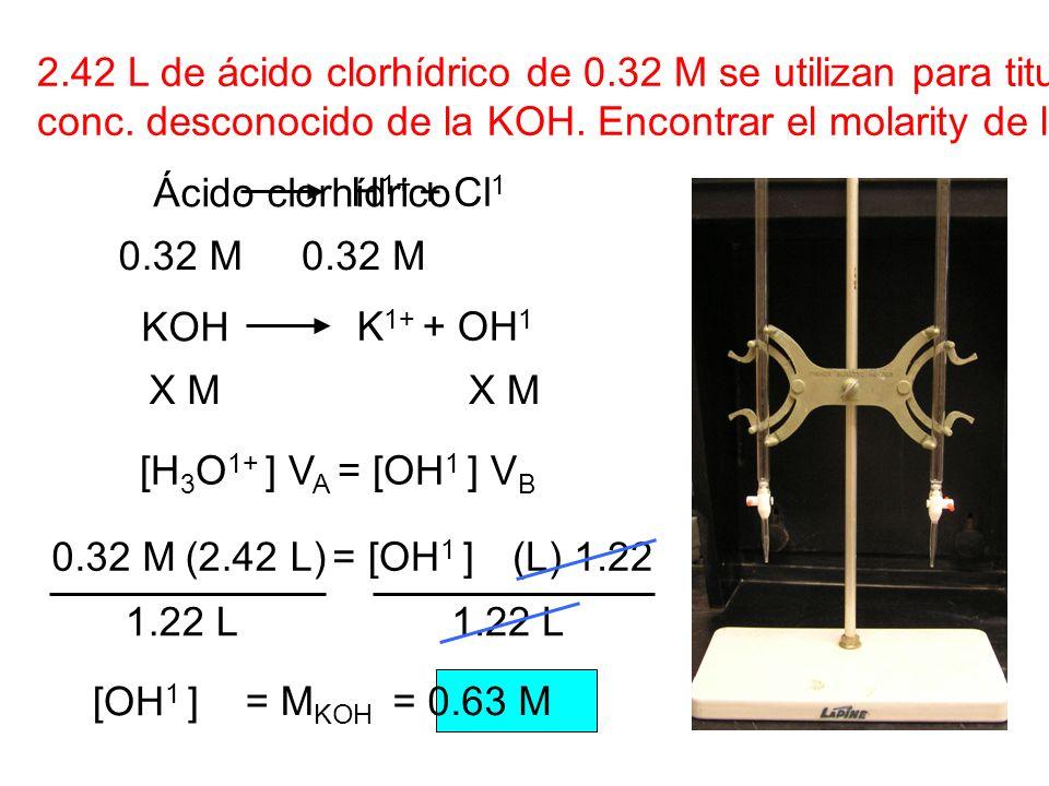 2. 42 L de ácido clorhídrico de 0. 32 M se utilizan para titular 1