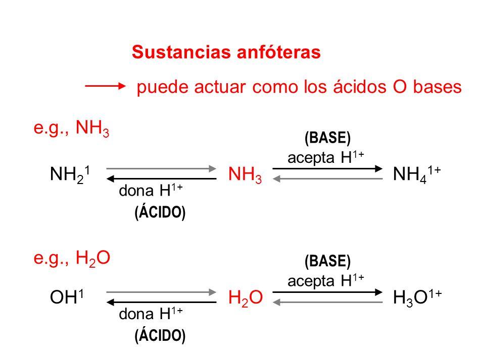 puede actuar como los ácidos O bases
