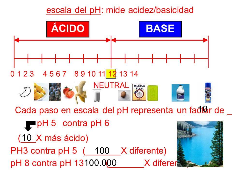 ÁCIDO BASE escala del pH: mide acidez/basicidad