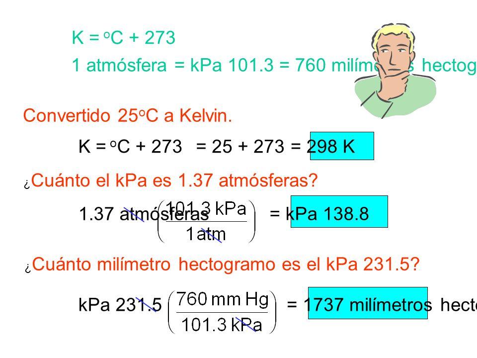1 atmósfera = kPa 101.3 = 760 milímetros hectogramo