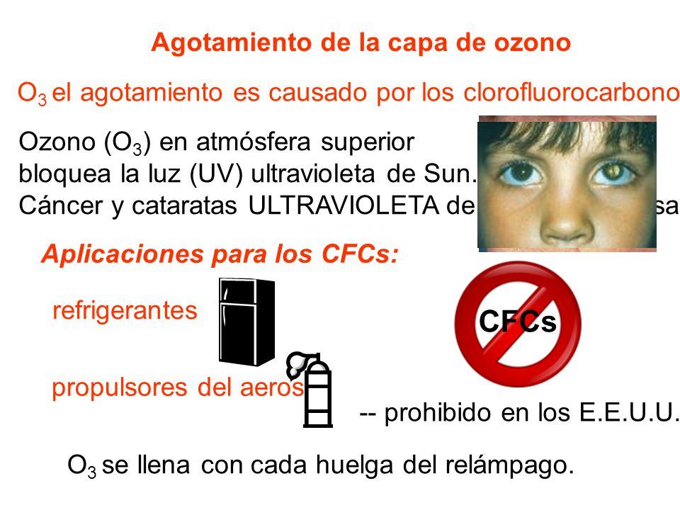 CFCs Agotamiento de la capa de ozono