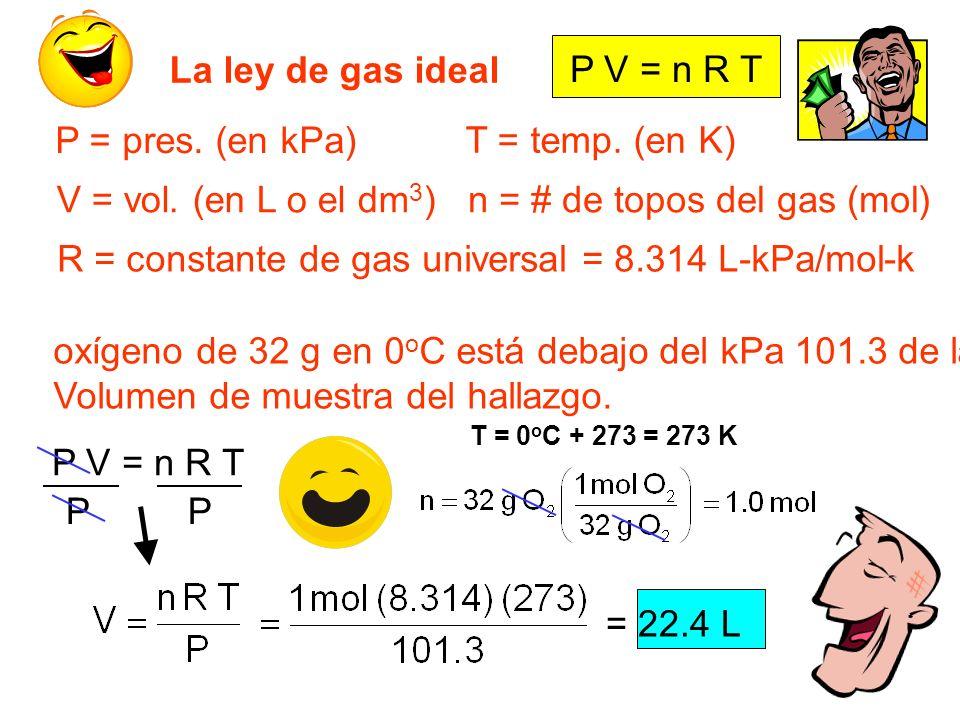n = # de topos del gas (mol)