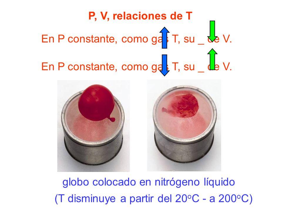 P, V, relaciones de T En P constante, como gas T, su _ de V. En P constante, como gas T, su _ de V.