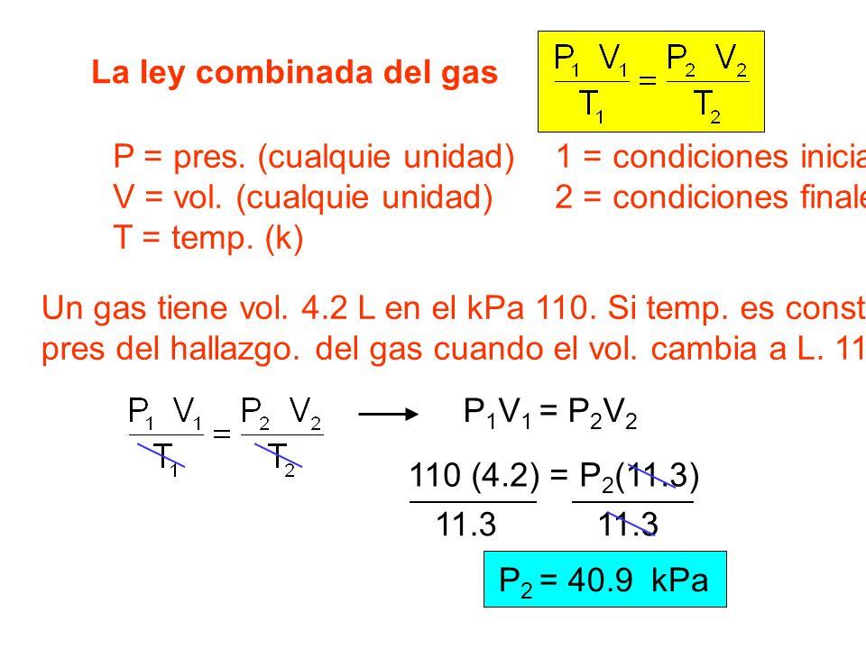 La ley combinada del gas