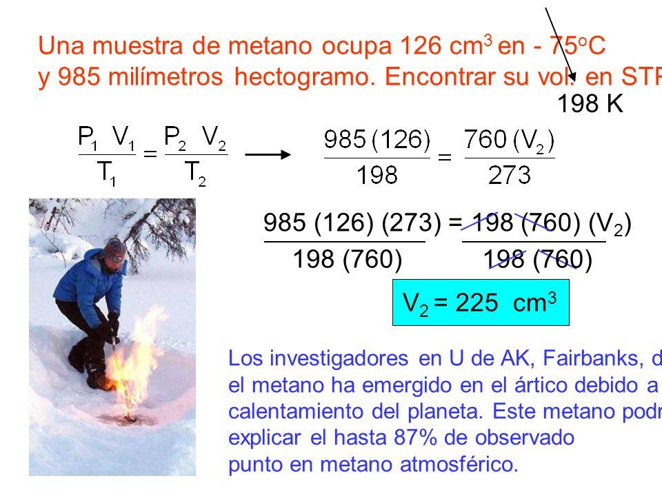 Una muestra de metano ocupa 126 cm3 en - 75oC