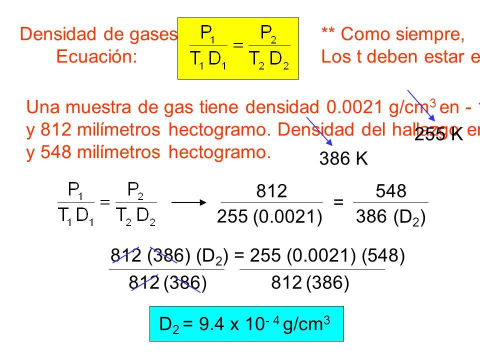 Densidad de gases Ecuación: ** Como siempre, Los t deben estar en el K. Una muestra de gas tiene densidad 0.0021 g/cm3 en - 18oC.