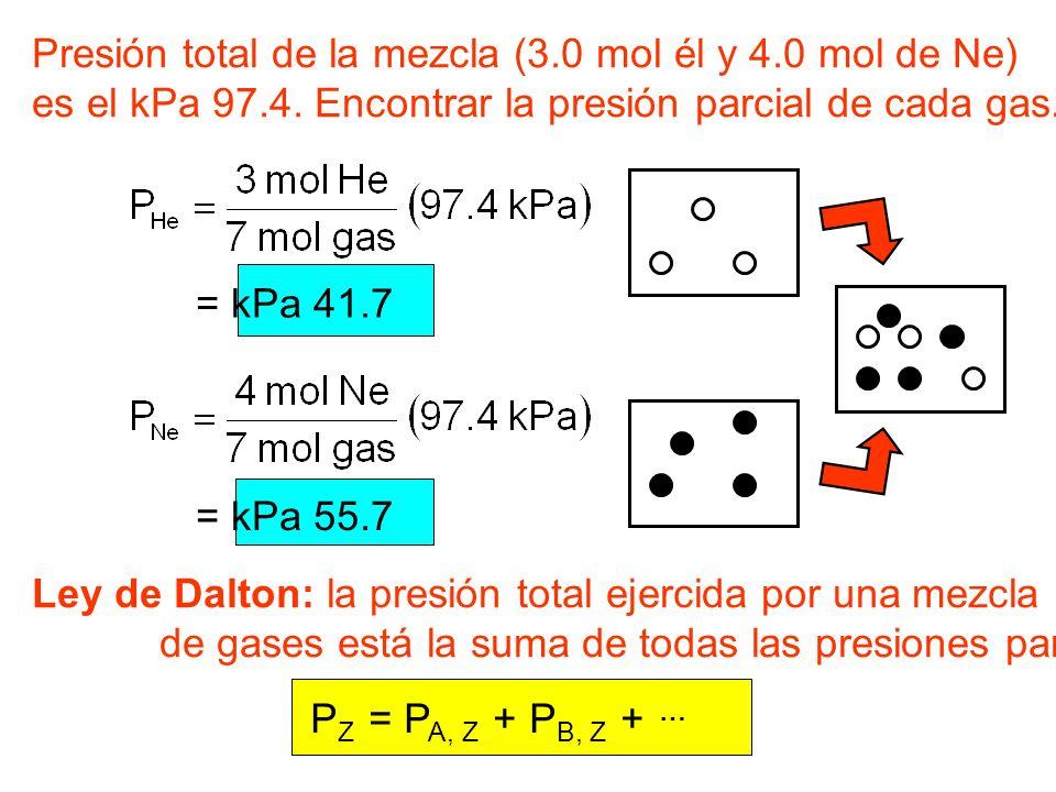 Presión total de la mezcla (3.0 mol él y 4.0 mol de Ne)