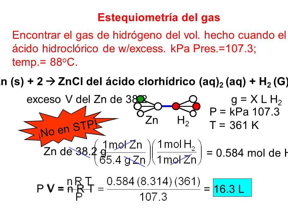 Zn (s) + 2  ZnCl del ácido clorhídrico (aq)2 (aq) + H2 (G)