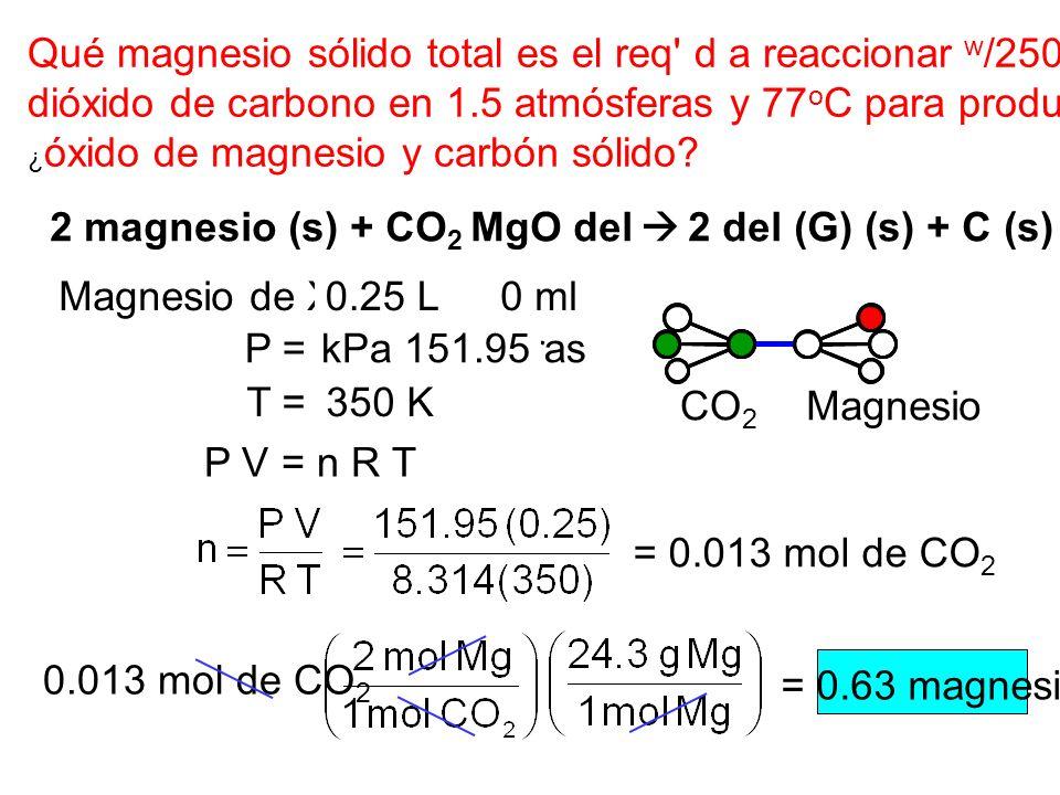 Qué magnesio sólido total es el req d a reaccionar w/250 ml