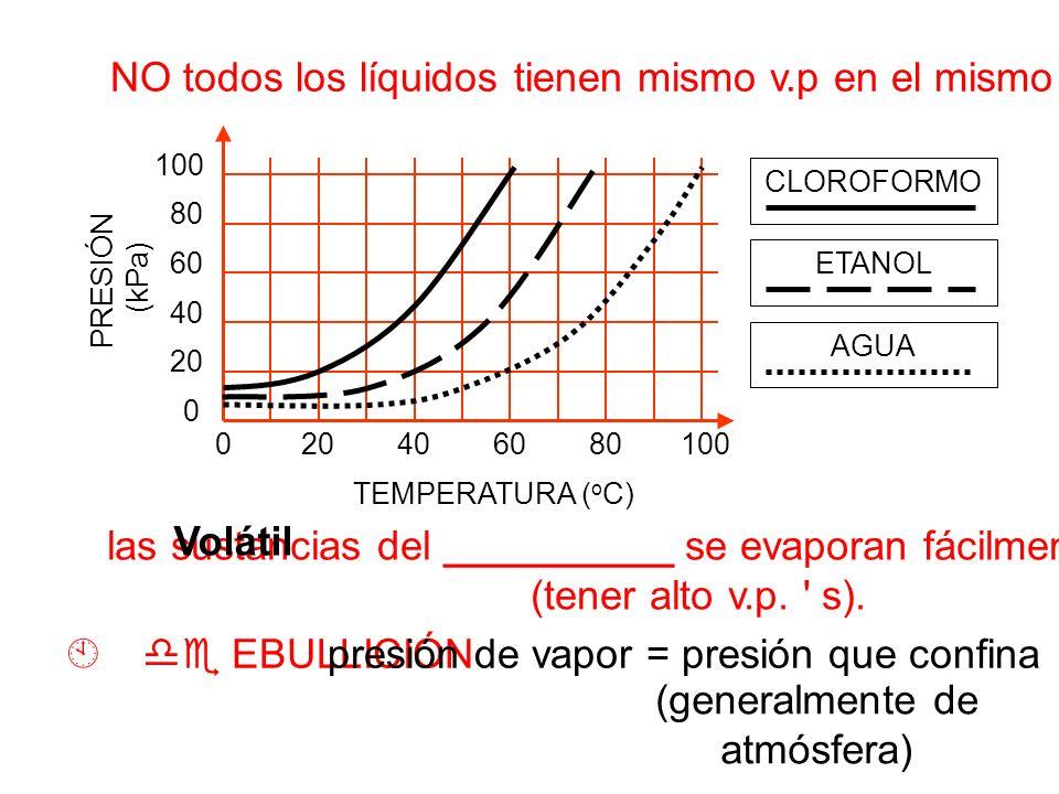 NO todos los líquidos tienen mismo v.p en el mismo temp.