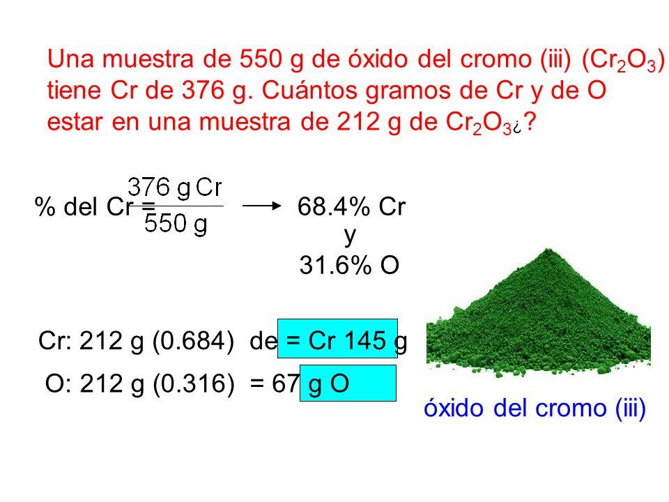 Una muestra de 550 g de óxido del cromo (iii) (Cr2O3)
