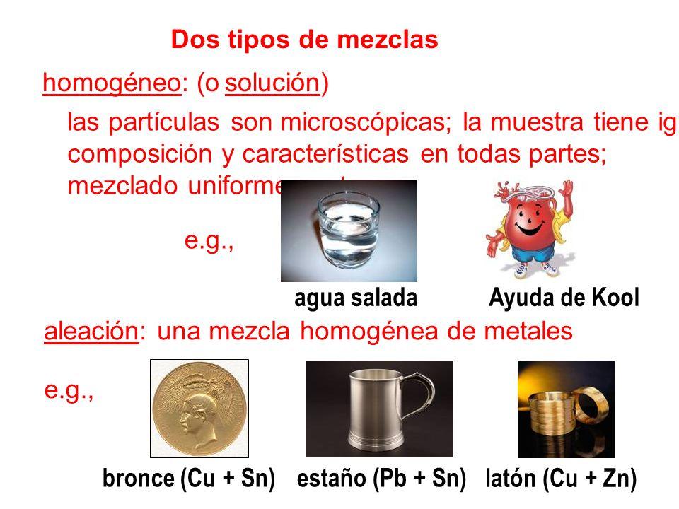 Dos tipos de mezclashomogéneo: (o solución) las partículas son microscópicas; la muestra tiene iguales.