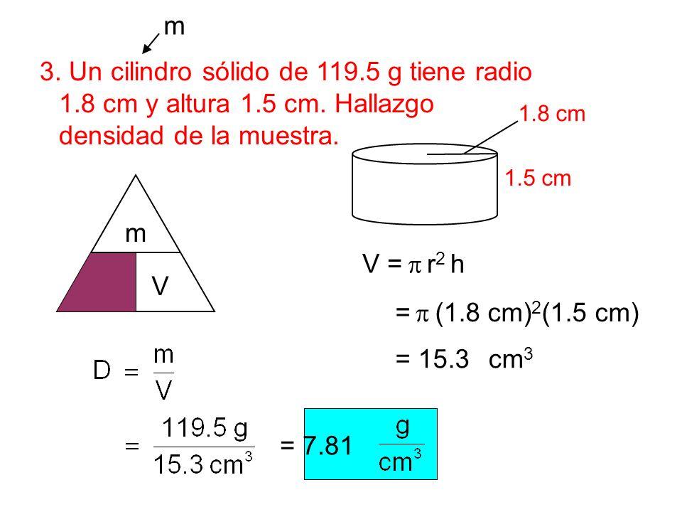 3. Un cilindro sólido de 119.5 g tiene radio