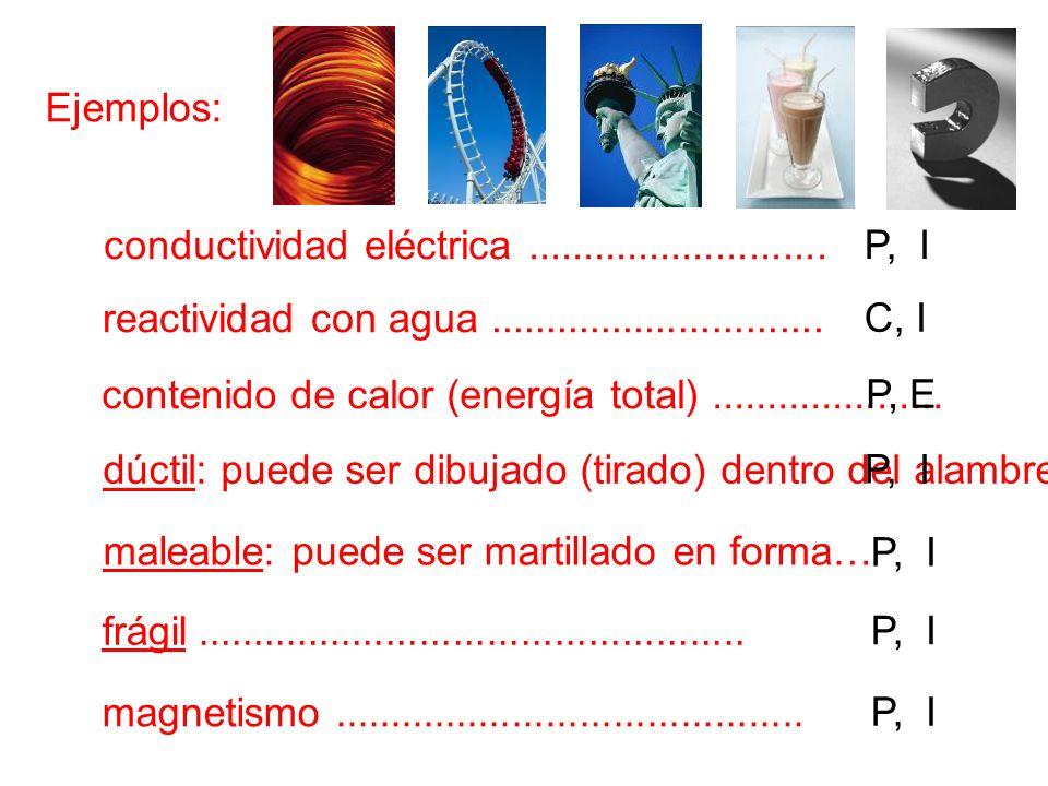 Ejemplos:conductividad eléctrica ........................... P, I. reactividad con agua ..............................