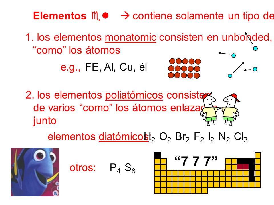 7 7 7 Elementos  contiene solamente un tipo de átomo
