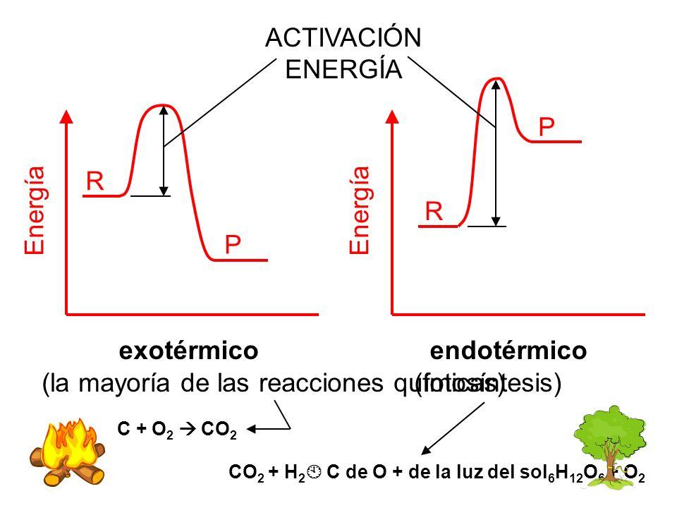 (la mayoría de las reacciones químicas) (fotosíntesis)