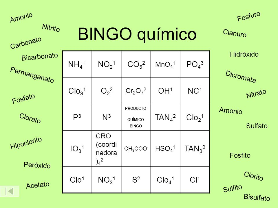 PRODUCTO QUÍMICO BINGO