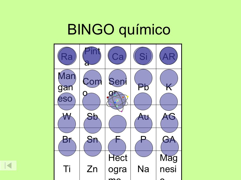 BINGO químico Ra Pinta Ca Si AR Manganeso Como Senior Pb K W Sb Au AG