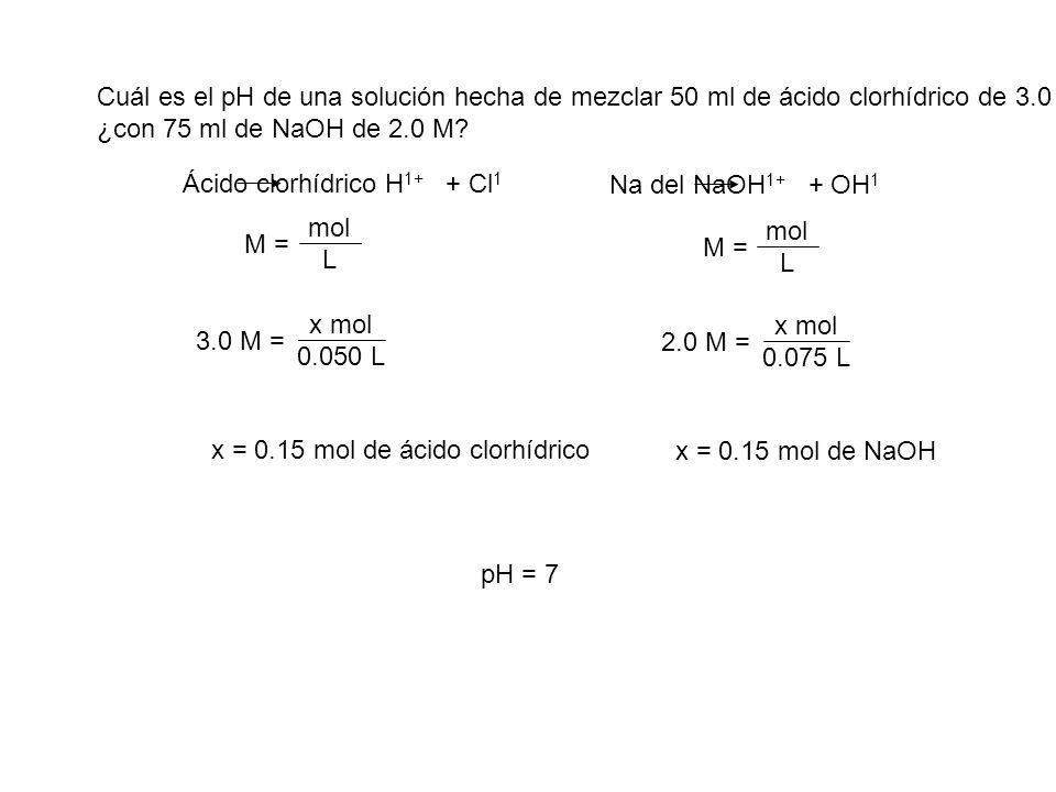 Cuál es el pH de una solución hecha de mezclar 50 ml de ácido clorhídrico de 3.0 M