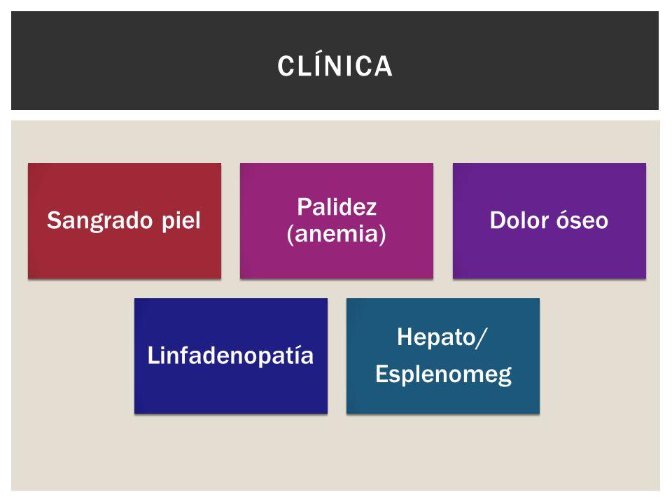 Clínica Sangrado piel Palidez (anemia) Dolor óseo Linfadenopatía