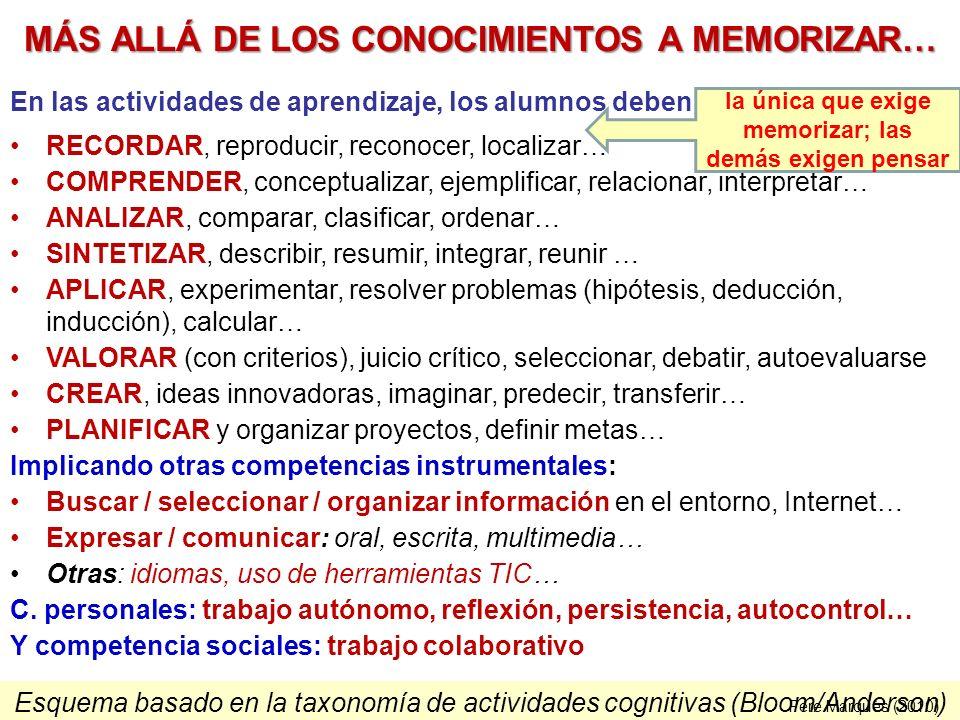 MÁS ALLÁ DE LOS CONOCIMIENTOS A MEMORIZAR…