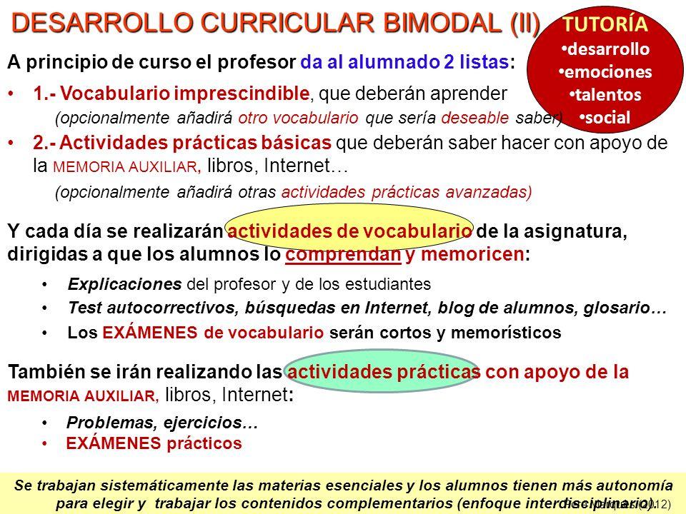 DESARROLLO CURRICULAR BIMODAL (II)