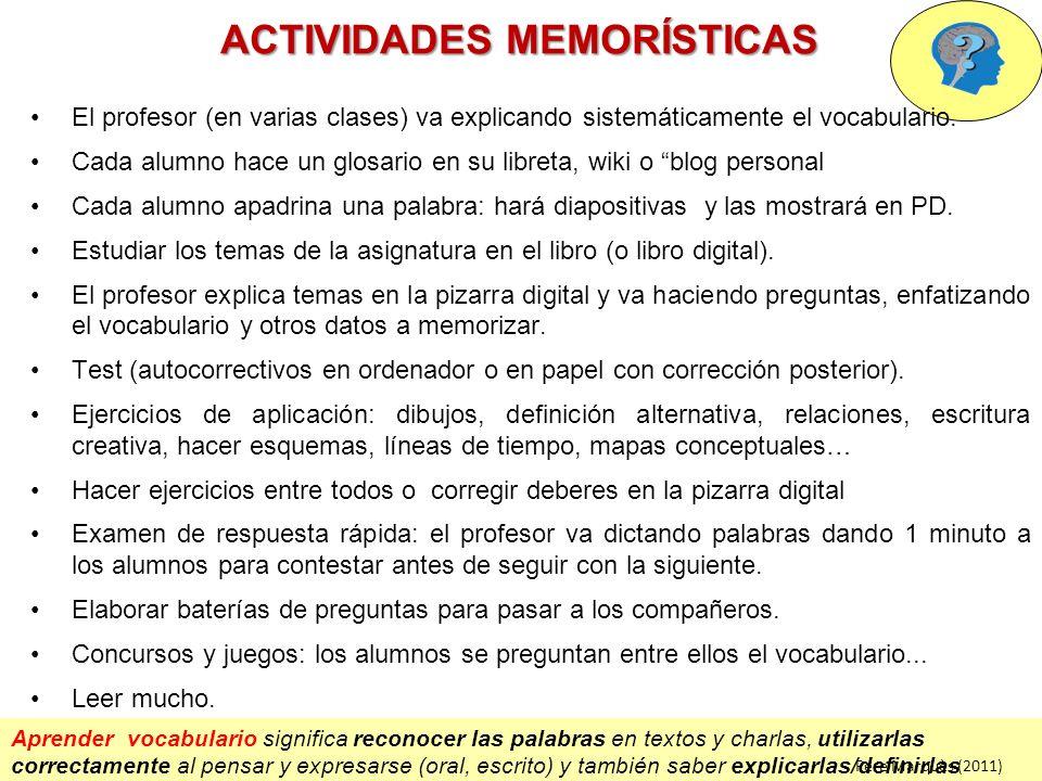 ACTIVIDADES MEMORÍSTICAS