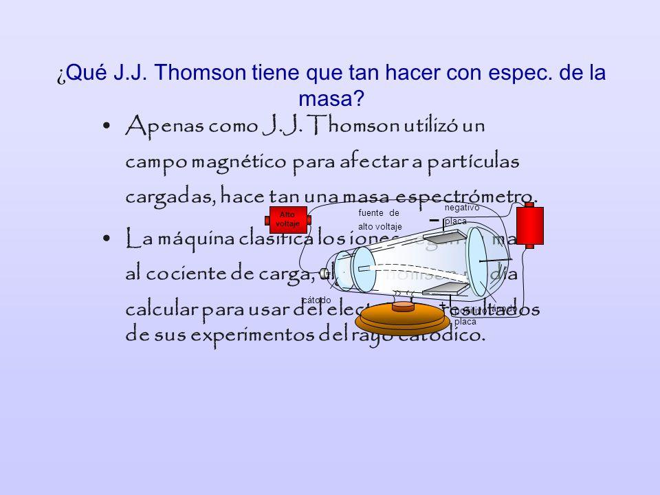 ¿Qué J.J. Thomson tiene que tan hacer con espec. de la masa