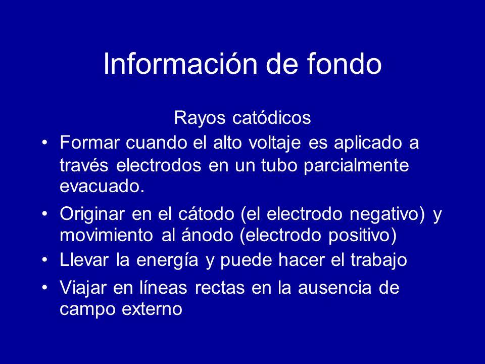 Información de fondo Rayos catódicos