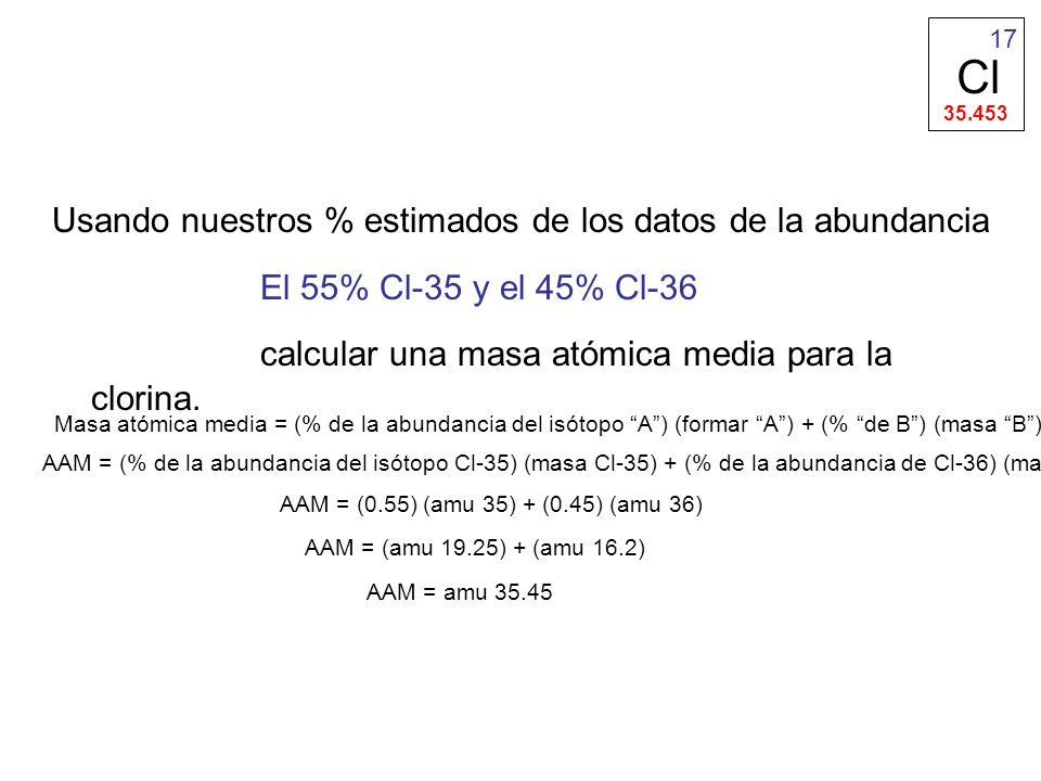 calcular una masa atómica media para la clorina.