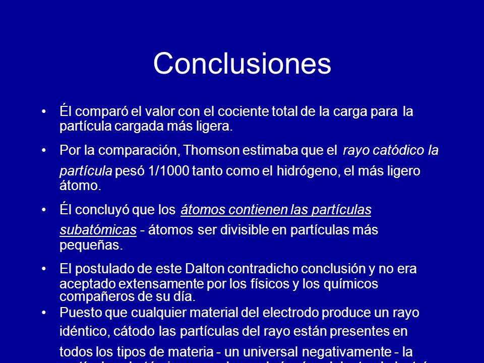 Conclusiones Él comparó el valor con el cociente total de la carga para la partícula cargada más ligera.