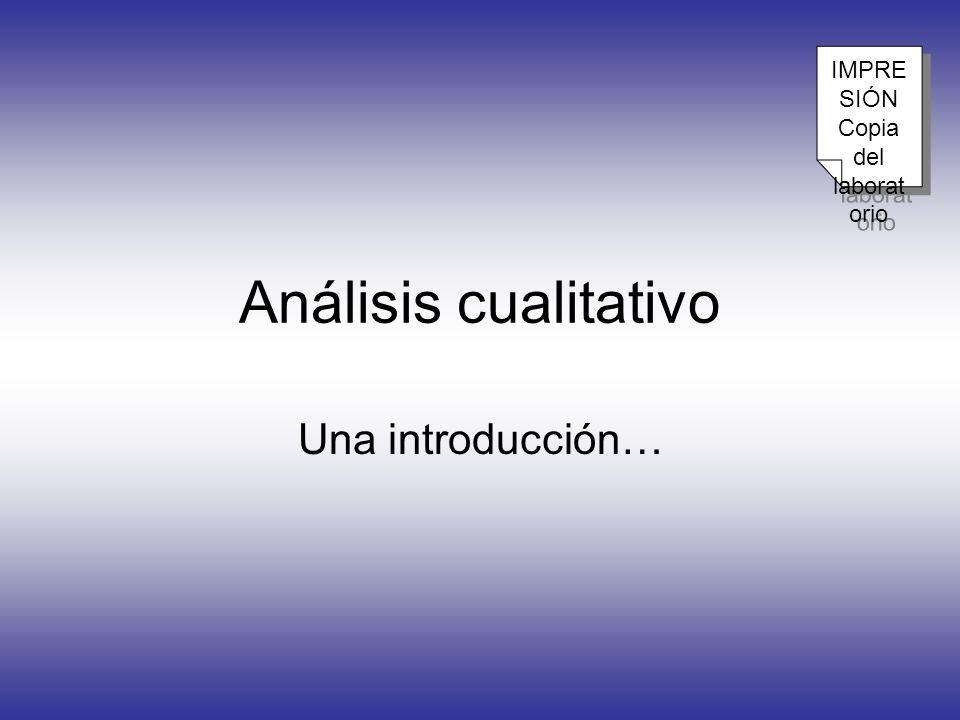 IMPRESIÓN Copia del laboratorio Análisis cualitativo Una introducción…