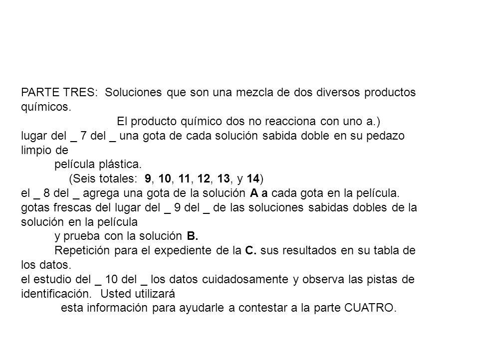 PARTE TRES: Soluciones que son una mezcla de dos diversos productos químicos.