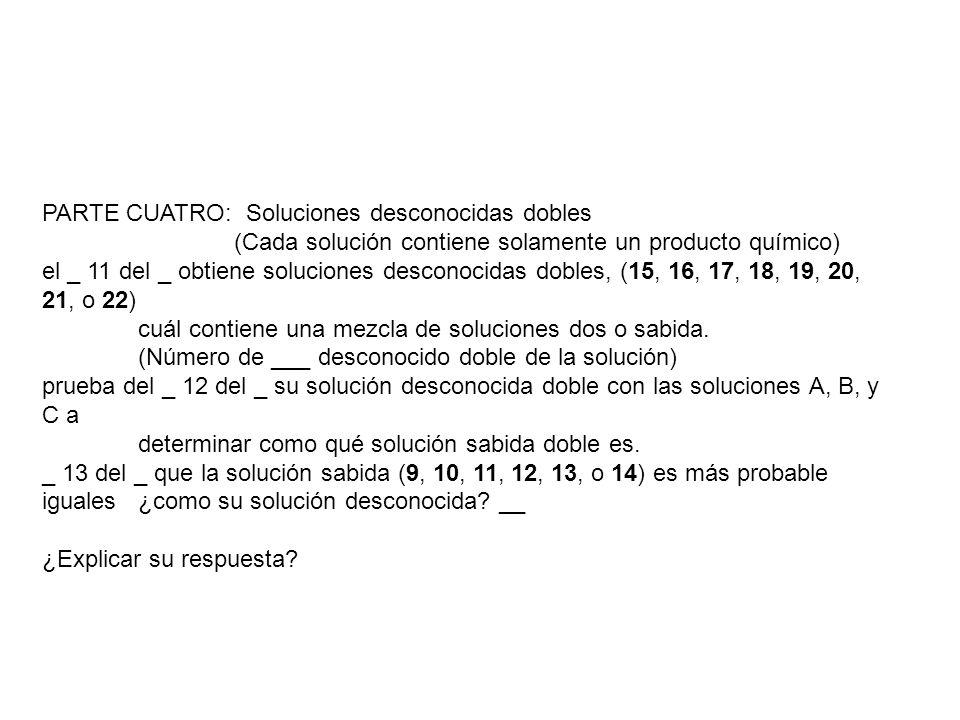 PARTE CUATRO: Soluciones desconocidas dobles