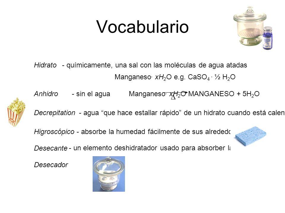 Vocabulario Hidrato. - químicamente, una sal con las moléculas de agua atadas. Manganeso. xH2O e.g. CaSO4 . ½ H2O.