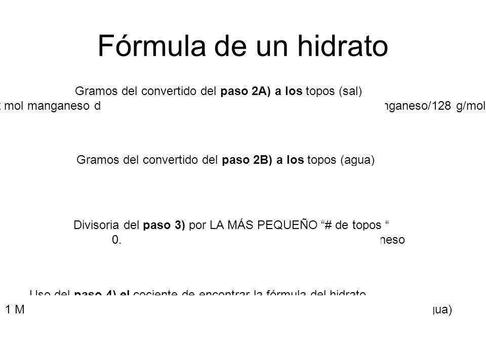 Fórmula de un hidrato Gramos del convertido del paso 2A) a los topos (sal)