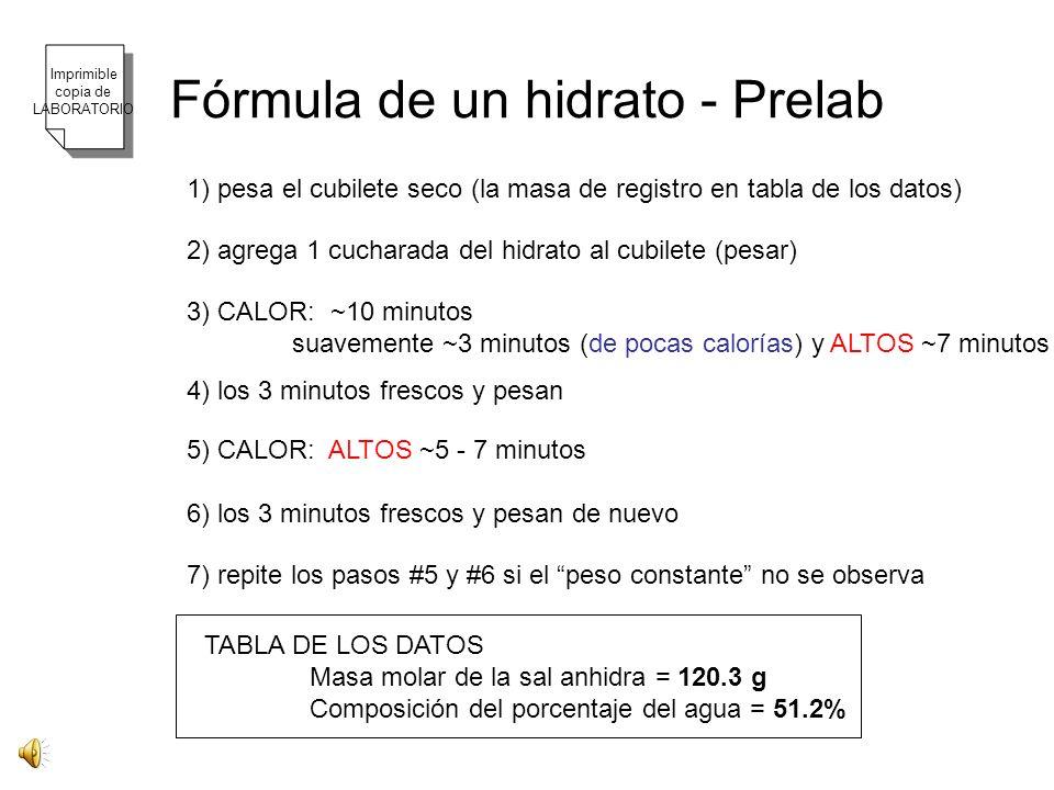 Fórmula de un hidrato - Prelab