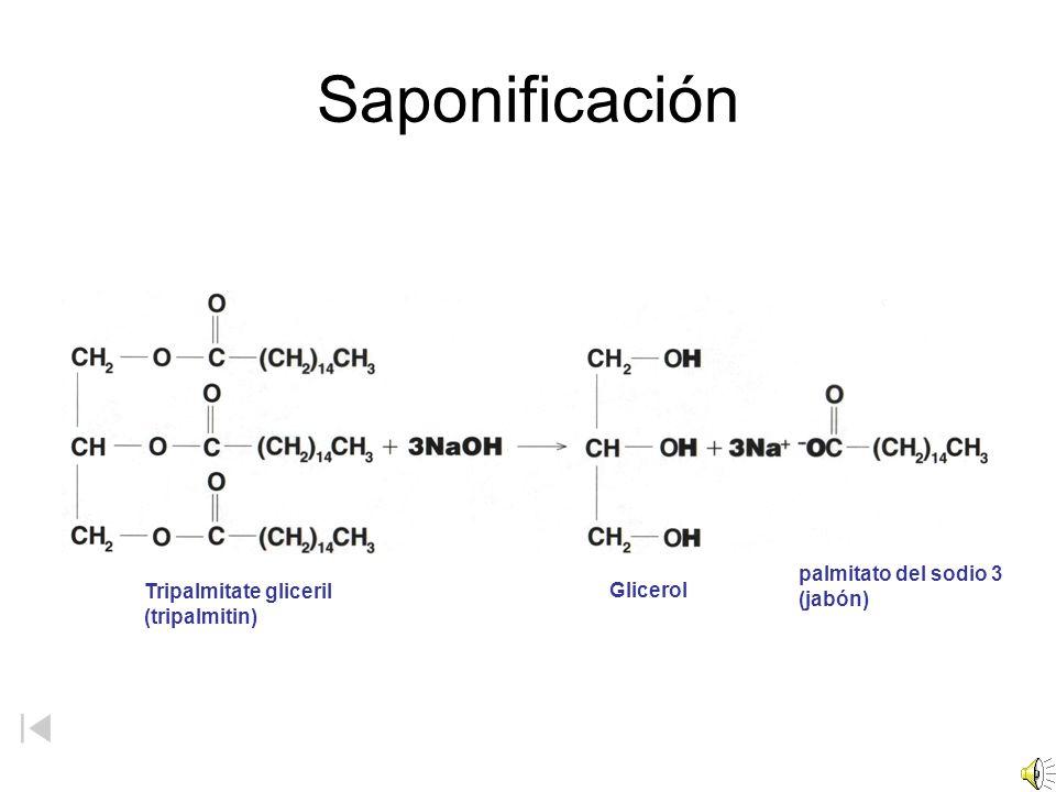 Saponificación palmitato del sodio 3 (jabón) Tripalmitate gliceril
