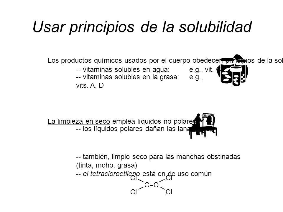 Usar principios de la solubilidad