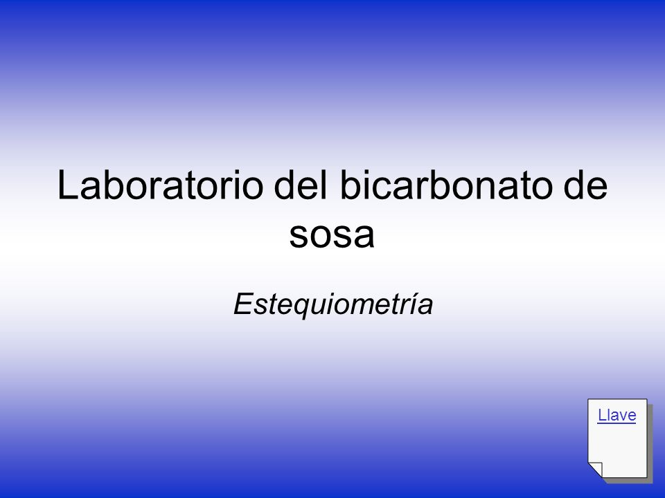 Laboratorio del bicarbonato de sosa