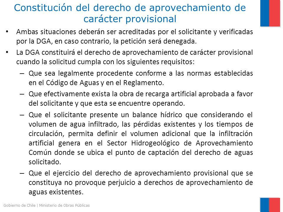 Constitución del derecho de aprovechamiento de carácter provisional